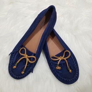 Lucky Brand Navy Blue Fringe Boho Moccasins
